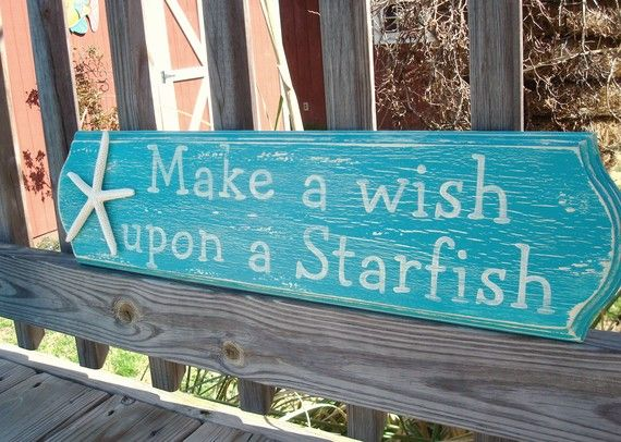 Make A Wish Upon A Starfish Handpainted Sign by justbeachyshop