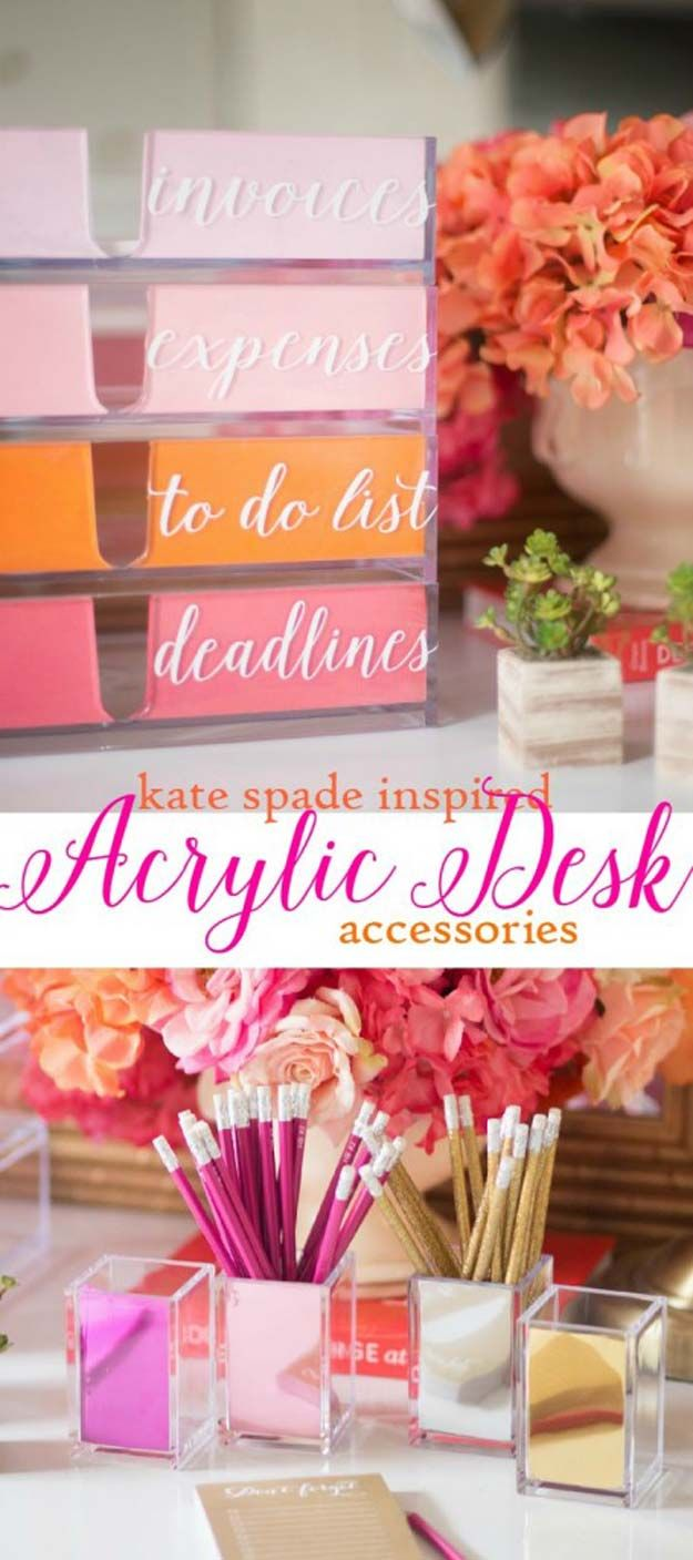 Fun DIY Ideas for Your Desk - DIY Kate Spade Inspired Acrylic Desk Organizer - Cubicles, Ideas for Teens and Student - Cheap Dollar Tree Storage and Decor for Offices and Home - Cool DIY Projects and Crafts for Teens http://diyprojectsforteens.com/diy-ideas-desk