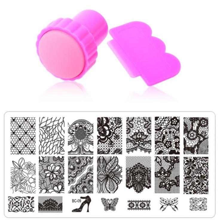 Nail Art Stamping,10Designs 1pcs Stainless Steel Image Plates and Stamper Scraper Set,Konad Nail Stamp Template,Nail Tools