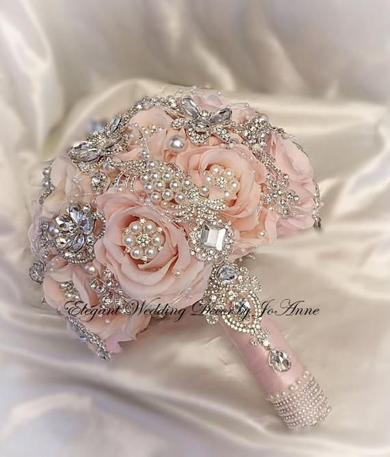 Pink Brooch Bouquet Blush Pink And Silver Brooch Bouquet Silver