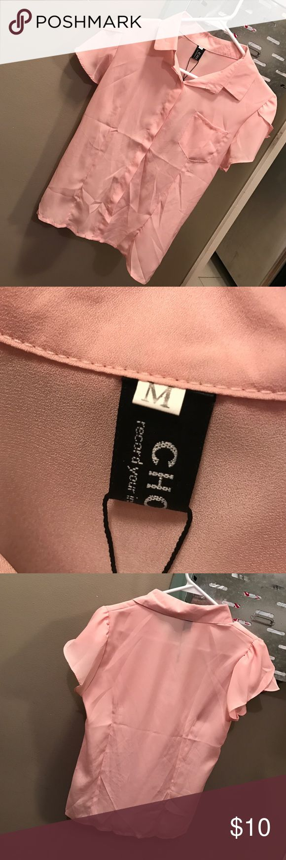 NWT Pink Blouse Brand-new with tags, never worn. Purchased from a boutique in so ho New York City for $36, priced to sell because I'm moving. Tops Blouses