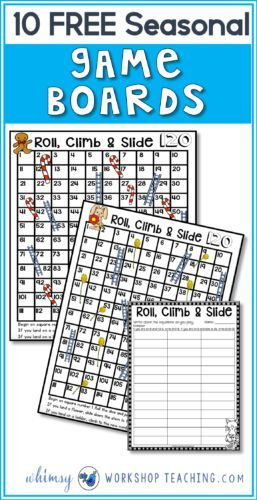 I use this set of seasonal board games in my math centers all year long - free download!