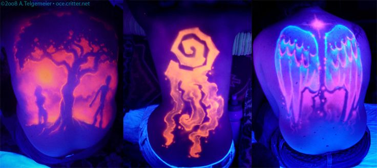 """""""UV backpieces"""" by kattything. Airbrushed freehand, under UV light, with blacklight-sensitive paint, on various models."""