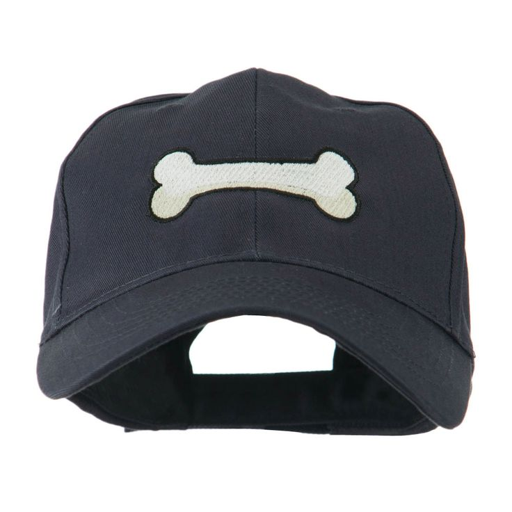 Dog Bone Shape Embroidered Cap - Navy