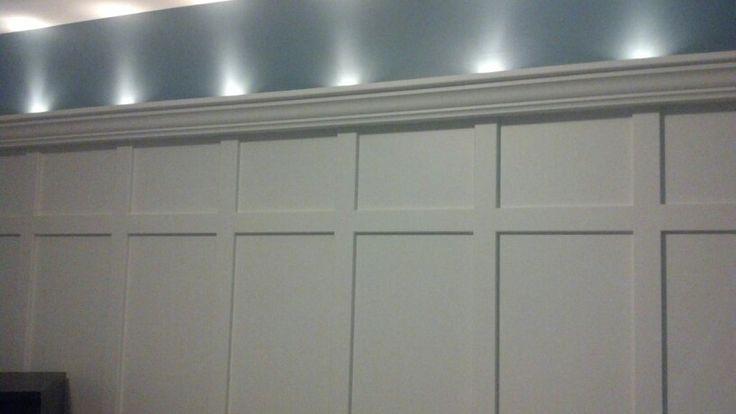 Board And Batten With Shelf Top And Lights Wainscot Boardandbatten Accentlighting Bedroom