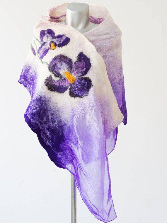 Felted purple wool scarf, unique scarf, nuno felted scarf, scarves wraps, gift for her, nuno felt wrap, evening shawl,nunofelted scarf,OAAK