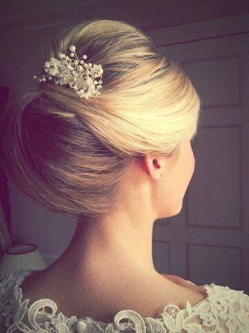 French twist with faux pearl pin