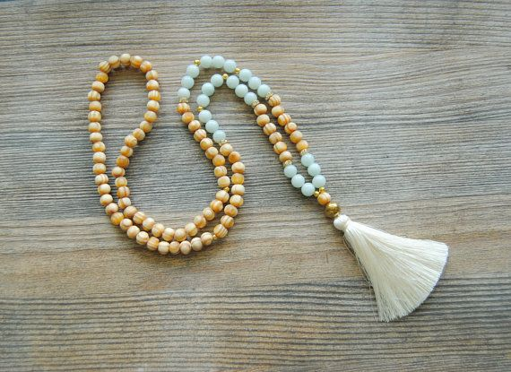 108 mala necklace, amazonite mala, wooden mala, yoga necklace, mala beads, long tassel necklace, japa mala