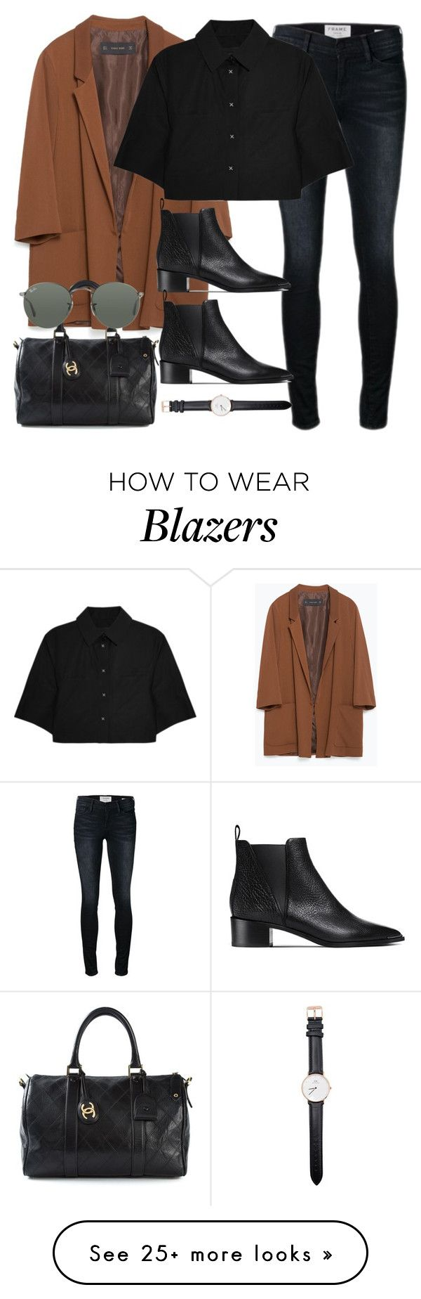 """""""Untitled #1910"""" by roxy-camarena on Polyvore featuring Frame Denim, Zara, Alexander Wang, Acne Studios, Daniel Wellington, Chanel and Ray-Ban"""