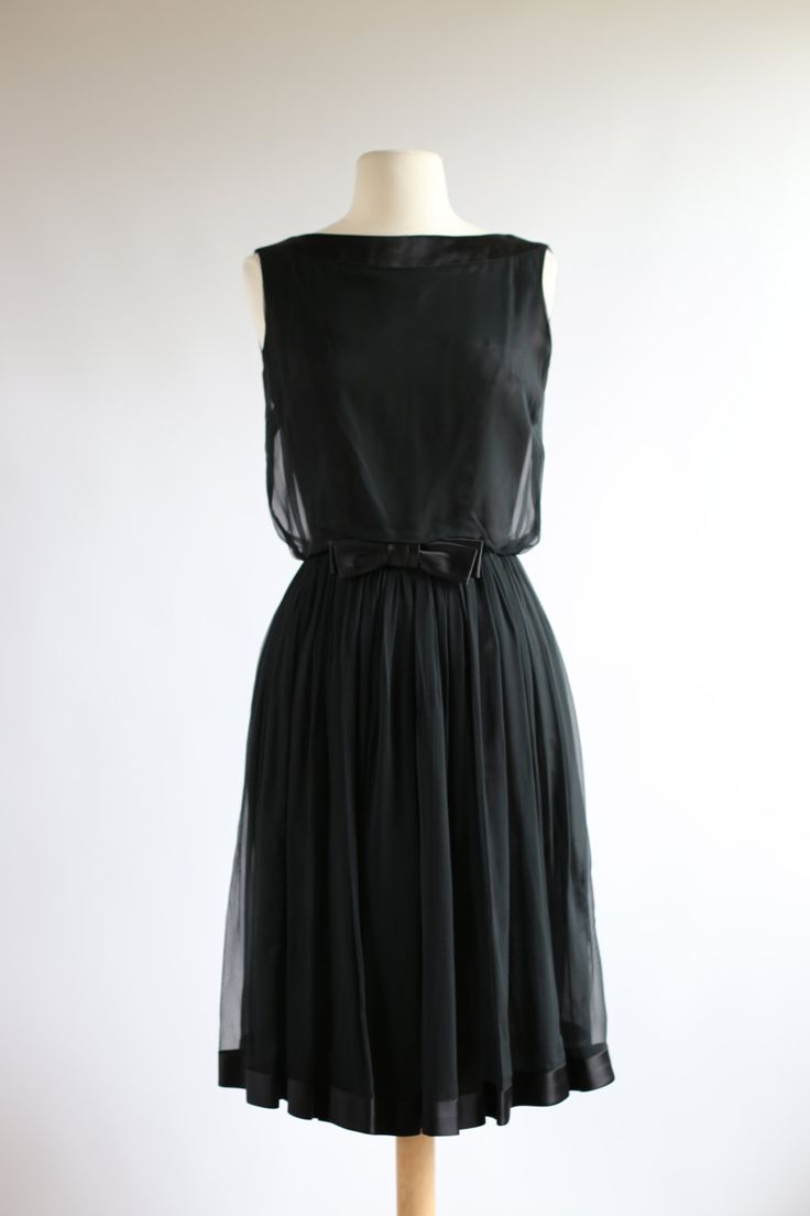 Vintage 1960s Audrey Dress ~ Vintage 60s Chiffon Party Dress ~ Vintage Little Black Dress by xtabayvintage on Etsy