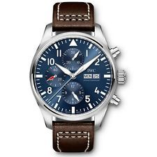 NEW IWC Pilot Steel Automatic 43mm Midnight Blue Dial Chronograph Watch IW377714