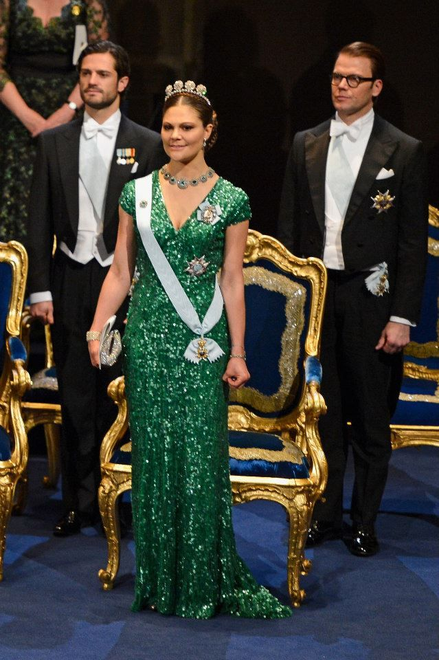 Crown princess Victoria of Sweden wears ELIE SAAB to the Nobel Prize Ceremony in Stockholm.  royals green sparkles gown