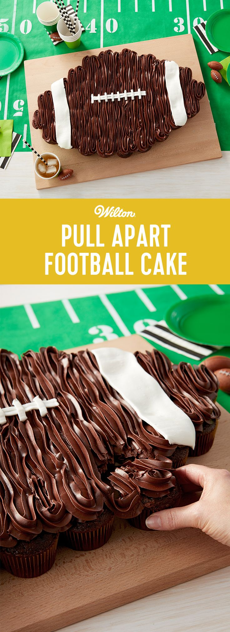 Pull apart football cake for Super Bowl Sunday!