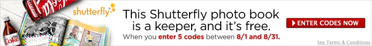 Free Shutterfly photo book when you enter 5 Coke reward codes in August