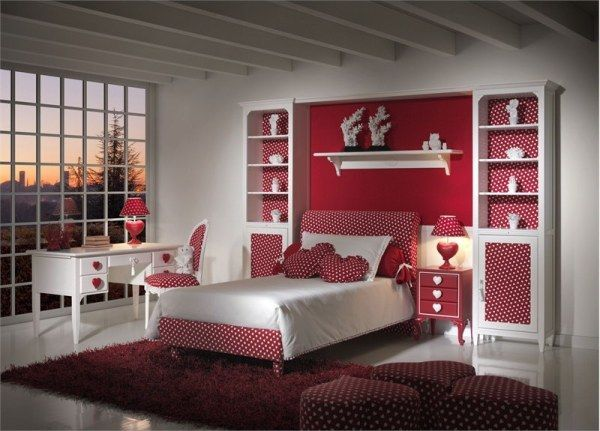 Bedroom,Exquisite Pink Teenage Girls Bedroom Design Ideas With Red Accent  And Polka Dots Pattern Featuring Classy White Study Desk And Soft Red Fur  Rug,Pink ...