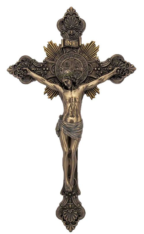 "Saint Benedict Wall Crucifix with Medal at Center. A St. Benedict Veronese Crucifix lightly hand-painted in cold cast bronze, and measures 8x14"". Back side of St. Benedict medal shows on the back of t"
