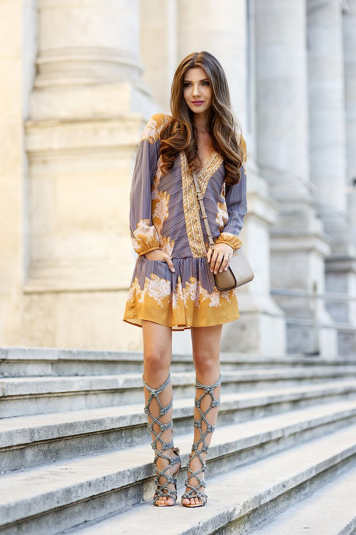 Shift Dress V Neck Tribal Print Trendy Dress