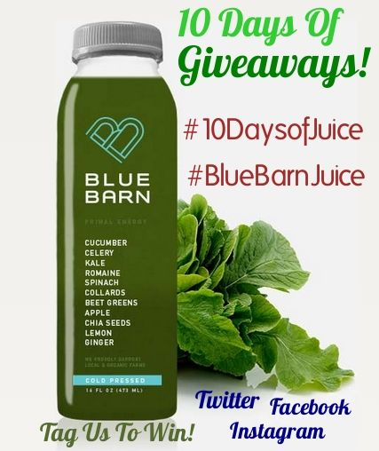 Happy Holidays from Blue Barn Juice!To celebrate Chanukah & Christmas, we're doing a juice #selfie contest starting today until December 26, 2014 ~ 10 Days of Giveaways! ~ where you can win:  three juices of your choice, a three day cleanse or a Blue Barn Juice T-shirt just for tagging us in your photo! It's EASY! Post a photo of you & your favorite Blue Barn juice blend on our Facebook page or tag us on Twitter and Instagram ...