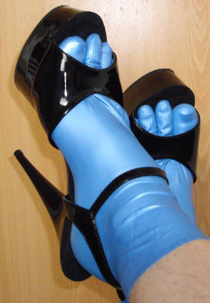 Blue Rubber Gloves Heels Feet Rubber Glove Feets In 2019