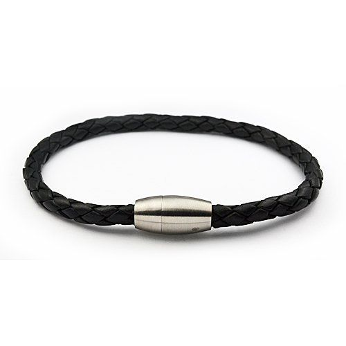 """Black braided leather bracelet with magnetic stainless steel clasp Mkarat. $12.95. Stainless Steel. 8.5"""" black brided leather. Magnatic stainless steel clasp. Save 68%!"""