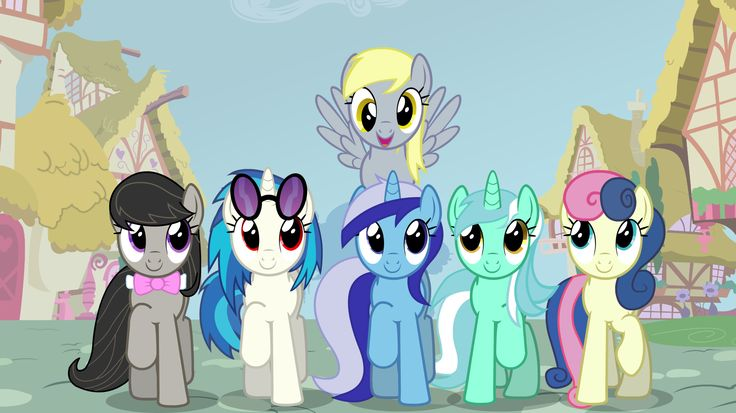 MLP - Background Mane 6 Smile Parade Marching to the Library (Octavia Melody, Vinyl Scratch, Minuette, Derpy Hooves, Lyra Heartstrings and Sweetie Drops) Background by drewdini on @deviantart