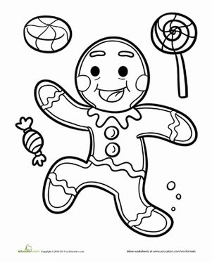 Christmas Kindergarten Holiday Fairy Tales Worksheets Gingerbread Man Coloring Page