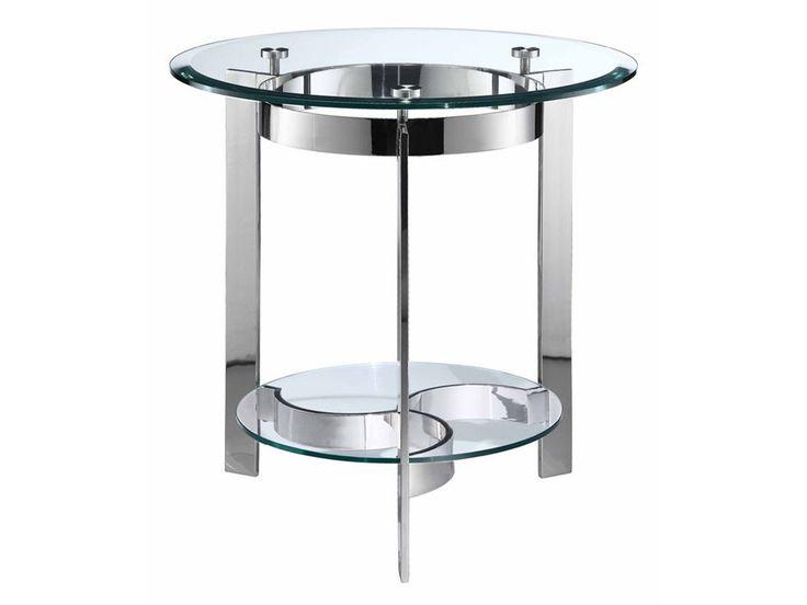Mesita redonda con un gran anillo bajo biselado tapa de cristal templado con discos de goma y marco de acero inoxidable fundido y una base estampada con un estante de cristal redondo.
