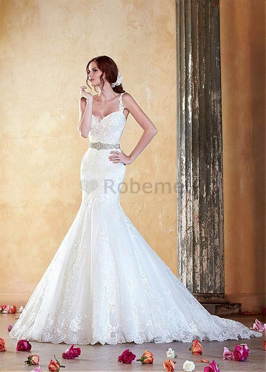Robe de mariée perle naturel en tulle style sirène appliques bretelles spaghetti