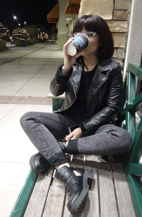 Black leather jacket • grey jeans • black boots