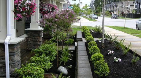 Love this simple but pretty flowerbed with hedges, patio trees with color, and neat shaped smaller bushes in front. Front Yard Home Makeover - After Lanscaping Transformation Pic 1