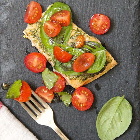 Basil Baked Salmon with Cherry Tomato Salad