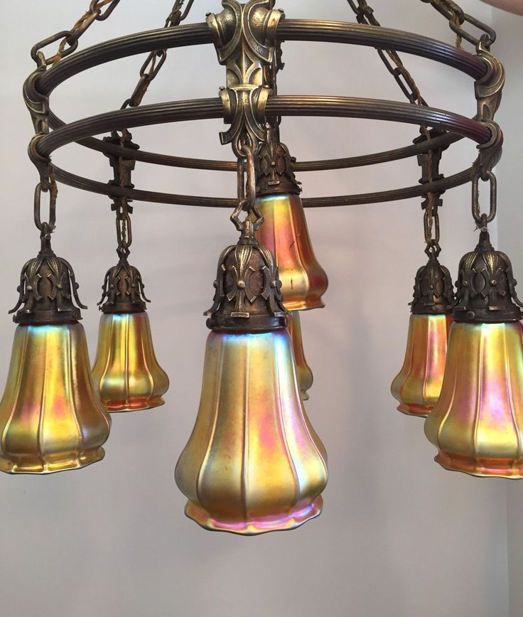 Spectacular Arts Crafts Chandelier With 7 Steuben Gold Art Glass Shades