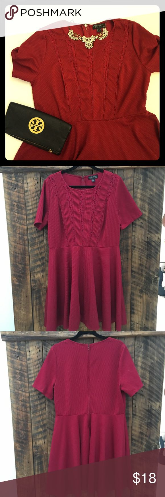 Forever 21 Wine Colored Dress with Lace detail Great wine colored dress! Super comfortable and stylish! The lace is see thru. In great used condition., only worn and washed a few times. Does have some piling which can be seen in last photo. Sz 2x Forever 21 Dresses