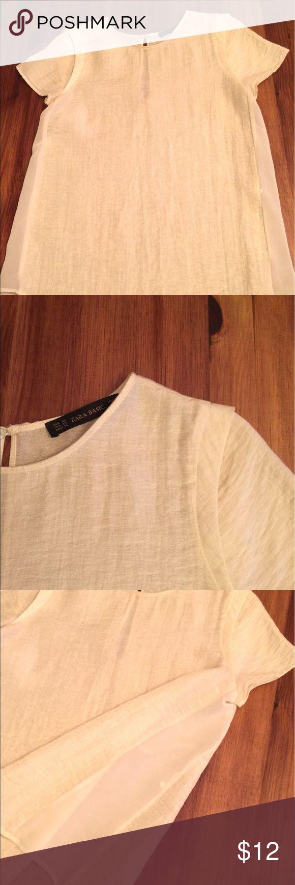Zara Basic women's blouse Zara Basic women's blouse , size XS. Color light beige. Necklace is not included Tops Blouses
