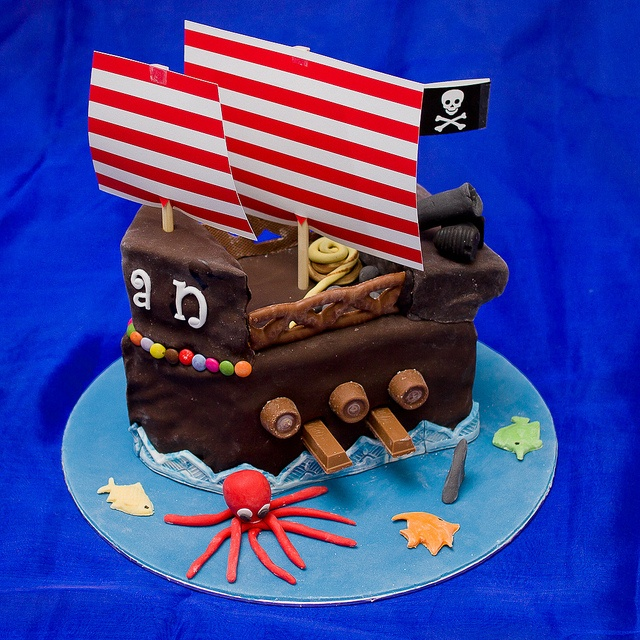 A chocolate pirate ship cake for Kyan with Rolo portholes, KitKat oars, Curly-Wurly rails and handmade sea-creatures.