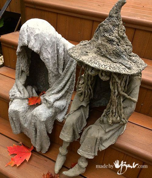 DIY Concrete Witch Ghoul - madebybarb - draped concrete spook witch