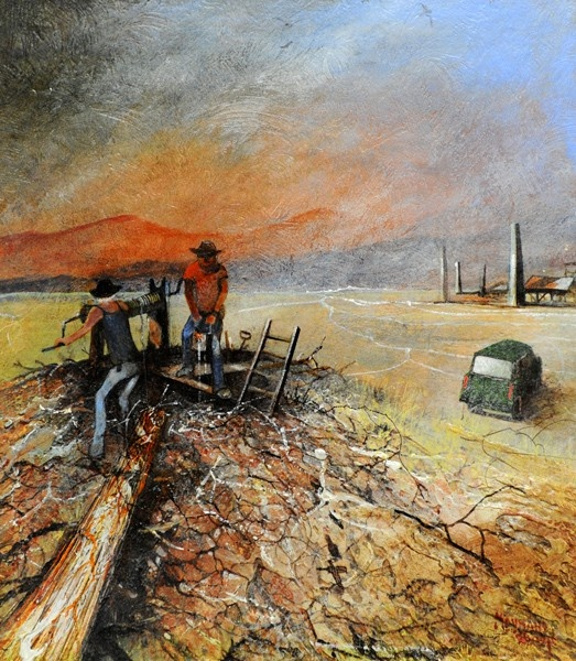 Mullock Miners, Ravenswood, oil on canvas, Maynard Waters, Bungendore Wood Works Gallery. August 11 – September 30, 2012