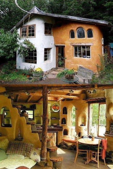 Cob HouseCob houses are ancient dwellings that continue to be used in U.K. Today! Updated of course, and often two stories. Looking so soothing and beautiful!