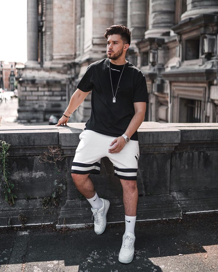 Men Round-Neck Sport Casual Two-Piece Suits – Uniq-cloth Street Style Outfits Men, Summer Outfits Men, Sport Outfits, Summer Men, Men Summer Fashion, Men's Fashion, White Fashion, Fashion Styles, Street Styles