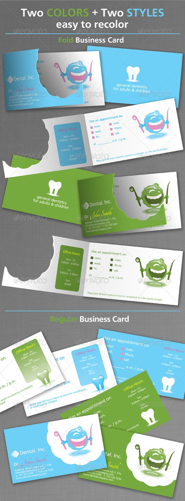 Dental Business Cards #GraphicRiver Dental Business Card Template Color Mode: CMYK SIZE : 3.75×2.25 inch (with bleed) 3.5X2 inch (standard) The files included are: EPS , AI Two Text fonts can be obtained free from: .fontsquirrel /fonts/CartoGothic-Std .fontsquirrel /fonts/Tangerine Created: 17April11 GraphicsFilesIncluded: VectorEPS Layered: No MinimumAdobeCSVersion: CS PrintDimensions: 3.5x2 Tags: anatomy #blue #brushing #cartoon #clinic #dental #dentalclinic #d...