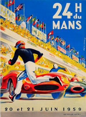24 Heures du Mans 1959 - original vintage poster by Michel Beligond listed on AntikBar.co.uk