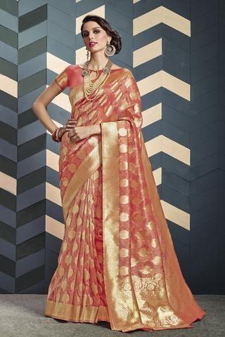 4d9fdefd39 Watermelon red Banarasi tissue pure Silk Saree | Banarasi Silk ...