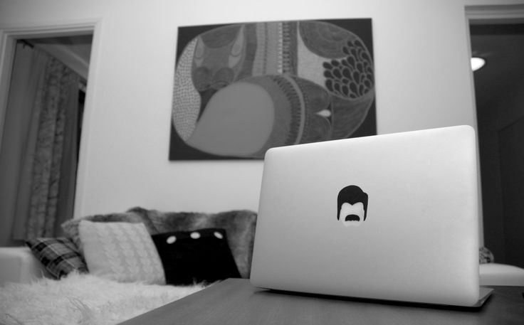 Ron Swanson sticker for Macbook