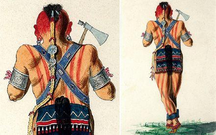 Indien d'amérique du Nord Homme mohawk, dessin aquarellé – Dessinateur anglais, attribué à George Hériot, fin du XVIIIe siècle –