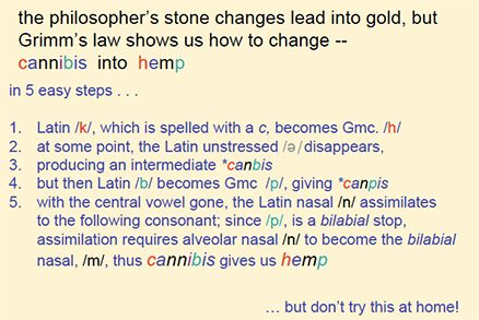 Grimm's law shows cannibis and hemp are the same word