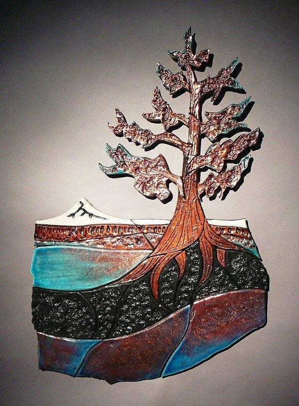Juniper tree raku tile mural by canyon creek pottery for Ceramic mural designs
