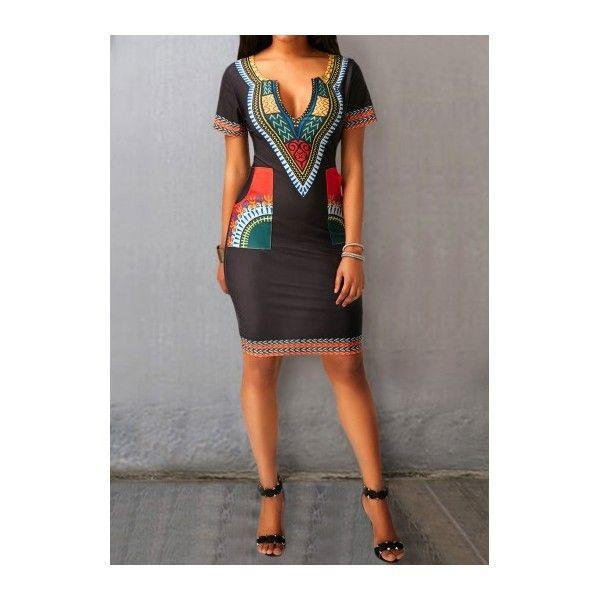 Rotita Black Split Neck Printed Pocket Dress (37 CAD) ❤ liked on Polyvore featuring dresses, black, sleeved dresses, sheath dresses, mini dress, short-sleeve dresses and short sleeve mini dress