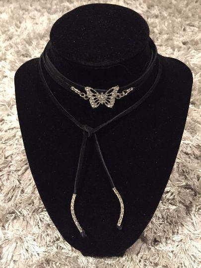 Black suede butterfly pendant wrap choker necklace