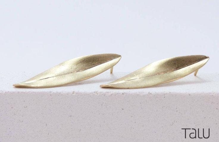 Olive Leaf Earrings, Leaf Gold Earrings, Olive Gold Earrings, Dainty Jewelry, Solid Gold Leaf, Romantic Gift, Gold Leaf Jewelry, 14 karat by TALUrockngold on Etsy