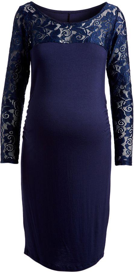 Glam Navy Lace-Yoke Maternity Bodycon Dress